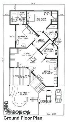 House Plans Mansion, Bungalow House Plans, Bungalow House Design, House Front Design, Dream House Plans, Modern House Design, House Floor Plans, 40x60 House Plans, House Layout Plans