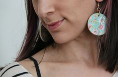 Floral Wooden Circle Earrings