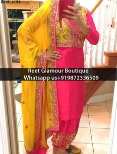 Marvelous Magenta And Yellow Punjabi Embroidered Suit Product Code : Reet_s191 All colours any stuff can be customise To order, call/whatsapp on +919872336509 It will make you noticable in special gathering. Buy Link : https://www.facebook.com/reetglamourboutique/