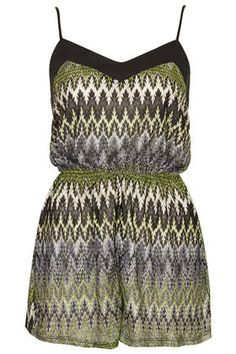 Lime Zig Zag Knitted Playsuit