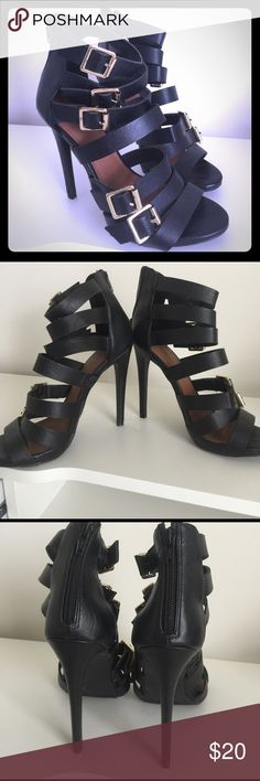 Black strappy heels w/buckles. Gently worn black Charlotte Russe strappy heels with buckles. Very classy 3 in heel. Only worn once to an event. Charlotte Russe Shoes Heels