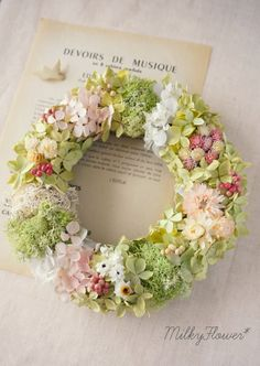 Spring pastel wreath, green and pink Love Flowers, Dried Flowers, Paper Flowers, Deco Floral, Arte Floral, Funeral Flowers, Wedding Flowers, Corona Floral, Sympathy Flowers