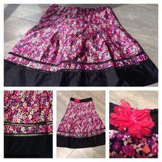 Een voor en na projectje. Oftewel, upcycle eens een rok uit de kringwinkel. De rok werd versmald, en het weggeknipte stuk paste ik bovenaan weer bij om zo een 'strapless' jurk te krijgen