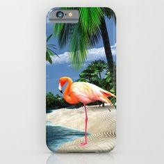 Beautiful Pink Flamingo Tropical Island Scene