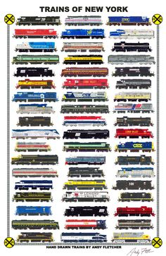 """An 11""""x17"""" poster with some of Andy Fletcher's hand drawings of railroad…"""