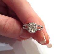 2 Carat Cushion Cut Ring spilt shank | Split Shank Cushion Cut Diamond Engagement Ring