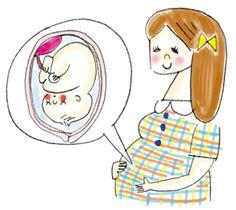 ママの笑顔と穏やかな胎児のイラスト