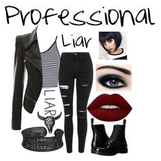"""Professional Liar"" by piper-chauhan ❤ liked on Polyvore featuring Topshop, Dr. Martens, Lime Crime and Max Factor"