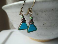 Blue Earrings Czech Glass Earrings Dangle Earrings Jewelry Geometric Earrings Small Earrings