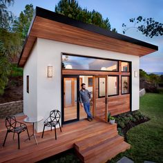this is a prefabricated tiny house called the britespace by avava systems the models are