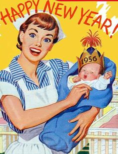 Vintage Happy New Year Poster from 1956 Vintage Happy New Year, Vintage Holiday, Vintage Greeting Cards, Vintage Postcards, Vintage Pictures, Vintage Images, Vintage Quotes, Retro Images, Vintage Nurse