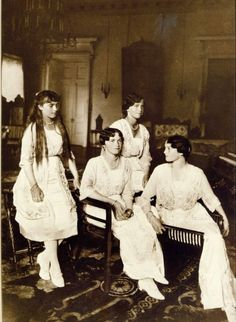 Grand Duchesses Anastasia, Olga, Marie and Tatiana, 1916. Each of the girls is wearing pearls, Anastasia's is the shortest necklace and Olga's the longest. (Their mother loved pearls) It was a tradition that every year on their birthday, their pearl necklaces were made longer, and Olga given a second strand on her 16th birthday.