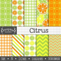 Digital Scrapbook Paper Citrus Digital Paper Pack by Pininkie, $3.00