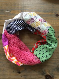 Mixed Prints Patchwork Infinity Scarf by KutKloth on Etsy