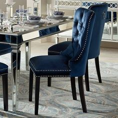 32 Inspiring Dining Chairs For Your Beautiful Dining Room - After buying the best-suited dining table, you are just half way done to complete a phenomenal centerpiece of your dining room furniture. No, of cours. Blue Living Room Decor, Blue Dining Room Chairs, Dining Room Walls, Dining Room Design, Office Chairs, Blue Chairs, Dining Room Sets, Kitchen Chairs, Accent Chairs