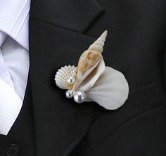 Shell Wedding Boutonniere   Wedding Boutonnieres
