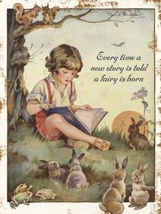 """""""Every time a new story is told a fairy is born"""", vintage illustration by Nina K. Boy reading from a book to bunnies Fairy Land, Fairy Tales, Vintage Signs, Vintage Art, Vintage Antiques, Children's Book Illustration, Book Illustrations, Vintage Children, Childrens Books"""