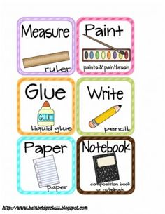 Classroom Supply Labels and Project Direction Cards - free