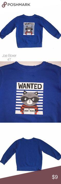 Joe Boxer Blue Sweater Wanted Sneaky Mischief 4T Gently worn excellent condition Joe Boxer Blue Sweater Wanted Sneaky Mischief 4T Joe Boxer Shirts & Tops Sweatshirts & Hoodies