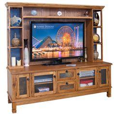 television console decor | Sunny Design 2702RO Santa Fe TV Console Media Hutch in Natural