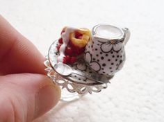 Cherry Pie And Cream Ring. Polymer Clay. by GiraffesKiss on Etsy