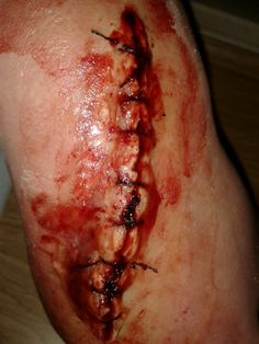my special effects makeup stitched up cut copyright rebbecca convey