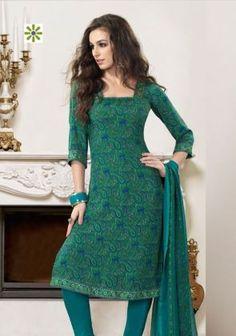 Green American Crepe Salwar Suit