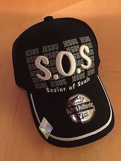6b007ed1adb S.O.S Jesus Savior Of Souls Christian Black Baseball Cap