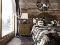 Спальня. Дизайн интерьера загородного дома в стиле шале, 150 кв.м.