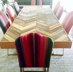 DIY chevron table.