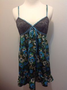 Free People size 8 multi-color floral 100% silk and lace spaghetti strap dress #freePeople #Sundress