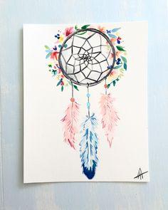Water color dream catcher- tattoo piece. Message me for a custom work! Dream catcher- tattoo. Feathers.