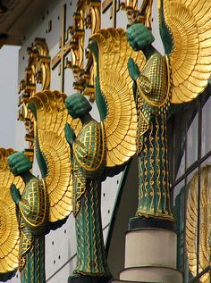 distant-and-flickering: balticavenue:  Detail of the facade of Kirche am Steinhof, a church on the grounds of a psychiatric hospital (!) in Vienna.   Designed by Otto Wagner, 1907  Photo by kewing