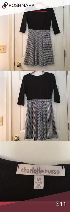 Houndstooth Dress Short black and white houndstooth skater dress. 3/4 sleeve. Scoop neckline. Mid thigh length Charlotte Russe Dresses