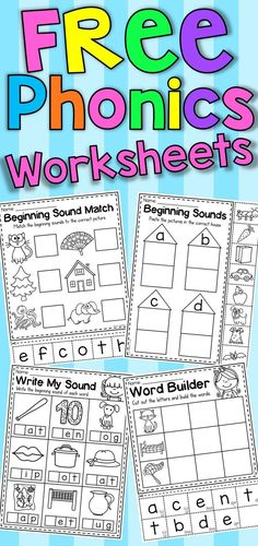 FREE Phonics Worksheets Free beginning sound and phonics worksheets for pre-school and kindergarten students. p FREE Phonics Worksheets Free beginning sound and phonics worksheets for pre-school and kindergarten students p Teaching Phonics, Teaching Reading, Preschool Phonics, Alphabet Phonics, Alphabet Activities, Read Write Inc Phonics, Phonics For Kids, Kindergarten Classroom, Kindergarten Activities