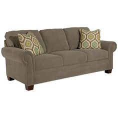Broyhill Furniture Choices Upholstery 87 Inch Standard Sofa with Panel Arm, Boxed Border Semi-Attached Back & Wedge Foot Base