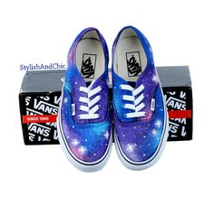 Galaxy Vans Hand Painted by StylishAndChic on Etsy from StylishAndChic on Etsy. Saved to Things I want as gifts. Galaxy Vans, Galaxy Shoes, Cute Shoes, Me Too Shoes, Rainbow Vans, Galaxy Outfit, Painted Canvas Shoes, Vanz, Vans Off The Wall