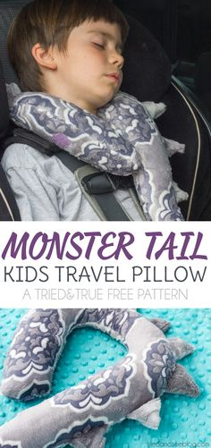 Your kids are going to love their Monster Tail Kid's Travel Pillow! Easy to sew with free printable pattern.