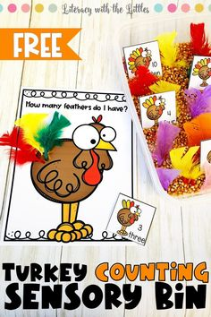 Are you looking for a fun filled sensory bin for fall? This turkey feather counting activity is the perfect way to practice counting skills. Children will choose a card then add the correct number of feathers to their turkey. This is an engaging Thanksgiving center for little ones that are working on number recognition, one to one correspondence, reading number words and counting.  Thanksgiving center for preschool and Kindergarten. Thanksgiving Preschool, Fall Preschool, Preschool Lessons, Preschool Activities, Turkey Crafts For Preschool, Math Lessons, Fall Sensory Bin, Sensory Bins, Sensory Play