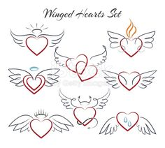 Hearts with wings in doodle style vector. Hearts with wings in doodle style vector illustration isolated on white background. Decoration sketch heart with nimbus Cute Tattoos, Body Art Tattoos, Tattoo Drawings, Small Tattoos, Wing Tattoos, Sleeve Tattoos, Heart Tattoos, Tatoos, Halo Tattoo