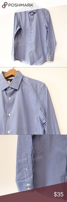 "Men's Banana Republic Mad Men Button Down Shirt Men's blue and white striped button down shirt from Banana Republic. From the Mad Men collection. Size small slim fit. Non iron. New with tags, never worn. Smoke and pet free home. Measurements taken laid flat. 19.5"" chest. 19"" waist. 30"" long shoulder to hem. 25"" long sleeves. Banana Republic Shirts Dress Shirts"