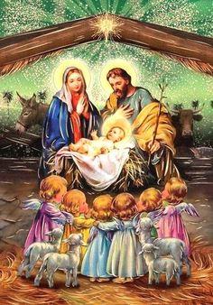 Merry Christmas Gif, Christmas Nativity Scene, Christmas Scenes, Christmas Wishes, Christmas Pictures, Vintage Christmas, Christmas Phone Wallpaper, Christmas Artwork, Christmas Paintings