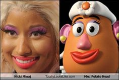 Nicki Minaj on TMZ, your go-to source for celebrity news, photos, & videos. Latest Story: Nicki Minaj Was NOT Dropped From Chris Brown's IndiGOAT Tour Nicki Minaj, Señor Potato, Potato Heads, Potato Girl, I Love To Laugh, Make Me Smile, Haha Funny, Funny Memes, Funny Stuff