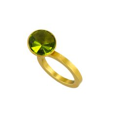 Ulla and Martin Kaufmann Ring, Round Peridot Stone, 18K Yellow Gold.  #green #artjewelry #jewelry