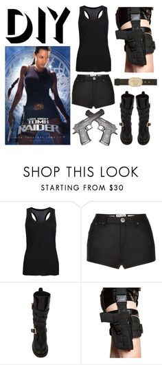 """TOMB RIDER - LARA CROFT - ANGELINA JOLIE"" by ximenadelasnieves ❤ liked on Polyvore featuring LARA, AllSaints, Parisian, Miss Selfridge, Holster, Versace, Halloween, contest, DIYHalloween and TombRider"