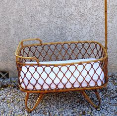 French Cradle Moses Rattan vintage 1960 with arrow by PopVintages