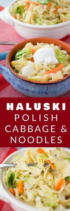HALUSKI aka POLISH CABBAGE AND NOODLES is a quick and easy recipe to make! This recipe is a authentic Polish recipe passed on to me by my Polish Grandmother! Your family is going to love this traditional bowl of noodles and cabbage for dinner! Side Dish Recipes, Easy Dinner Recipes, Pasta Recipes, Cooking Recipes, Cabbage Recipes, Dinner Ideas, Soup Recipes, Recipies, Family Recipes