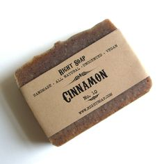 Cinnamon Soap - All Natural Soap, Vegan Soap, Unscented Soap, Handmade Soap, Fragrance Free Soap,  Cold Process Soap. $6.00, via Etsy.