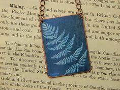 Anna Atkins necklace Fern Cyanotype mixed media jewelry Science jewelry Botanist