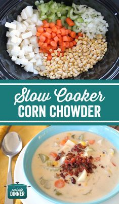 Easy Peasy Corn Chowder in the slow cooker. Even picky eaters love this Delicious simple dinner. Mom's love that it only takes 20 minutes to throw together and they can set it and forget it. Soup is on! ~ http://reallifedinner.com